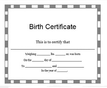 empty birth certificate