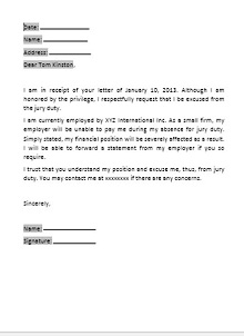 jury duty excuse letter