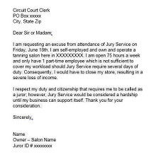 sample letter asking to be excused from jury duty