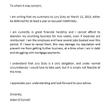 Jury duty excuse letter template 25