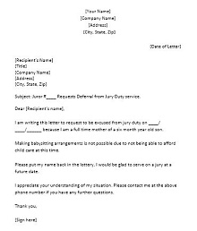 Jury duty excuse letter template 31