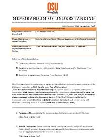 memorandum of understanding template nonprofit