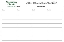 Open house sign in sheet 25