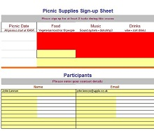 sign up sheet for potluck