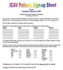 how to make a potluck signup sheet