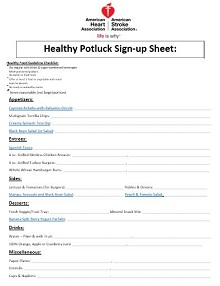 Potluck sign up sheet 19