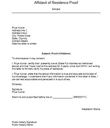 how to write a proof of residency letter