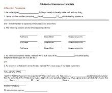proof of residency letter from family member template