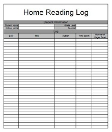 reading logs for 1st grade