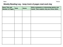 free reading log template