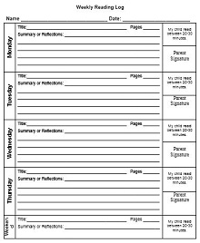 reading logs printable