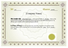 stock certificate sample