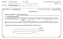 stock certificate format