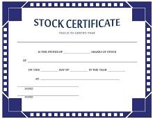 stock certificates samples