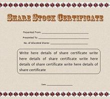Stock certificate template 35