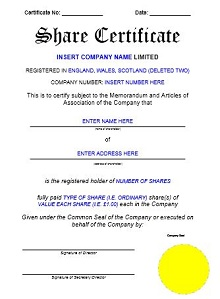 blank stock certificate form