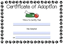 adoption certificate template word