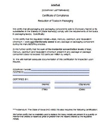 certificate of compliance form manufacturing
