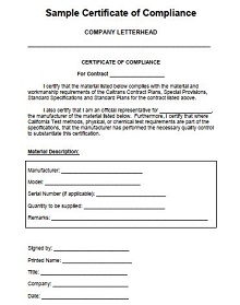 certificate of compliance sample