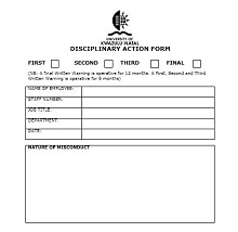 disciplinary action form pdf
