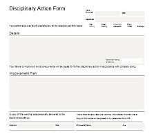 Disciplinary Action Form 29