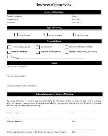 employee warning notice sample letter