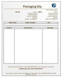 packing slip template excel