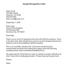 recognition letter format