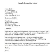 recognition letter format