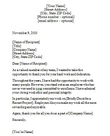 sample recognition letter for coworker