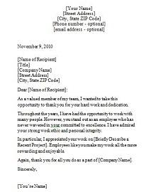 sample recognition letter for coworker