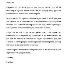 sample of recognition letter