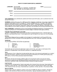 Room rental agreement 24