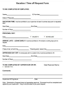 employee vacation forms