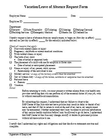 employee vacation form