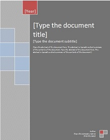word cover page template