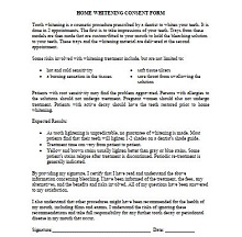 Home whitening consent form