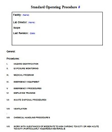 standard operating procedure template free