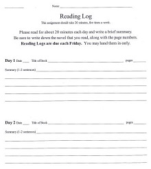 20 Minute Reading Log Example