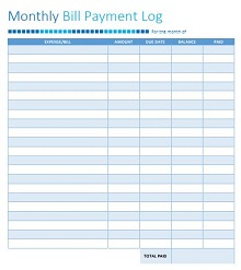 money log template