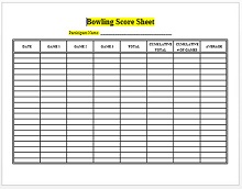 bowling scoring sheet excel
