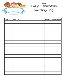Early Elementary Reading Log