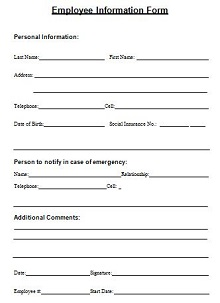 personal data form for employees
