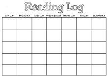Reading Log Blank Calendar