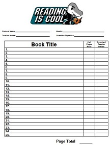 Student Monthly Reading Log Example