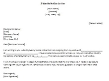 Two weeks notice letter 06