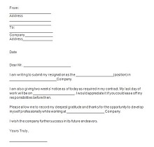 Two weeks notice letter 09