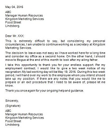 Two weeks notice letter 18