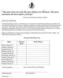 Vacation Reading Log Example