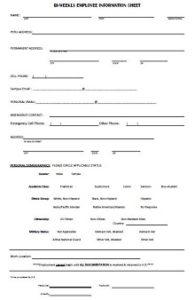 Bi-Weekly Employee Information Sheet